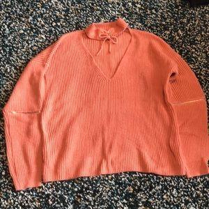 Forever 21 oversized orange pink sweater